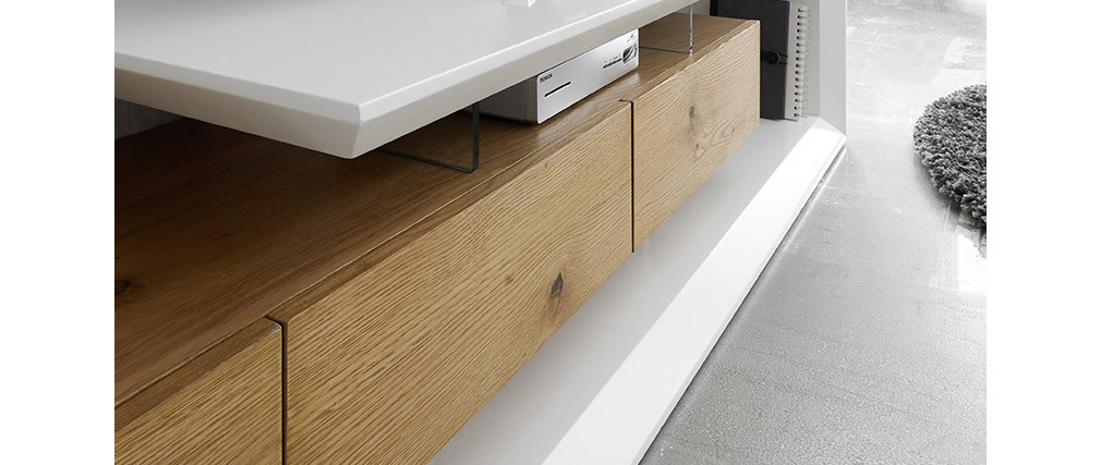 Mueble TV moderno lacado blanco y madera RITUEL