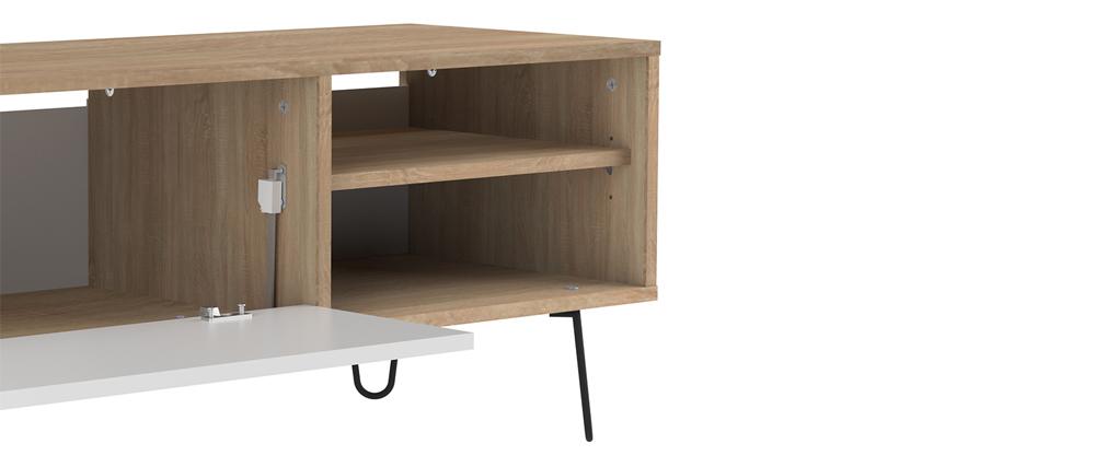 Mueble TV moderno madera y blanco LUMY