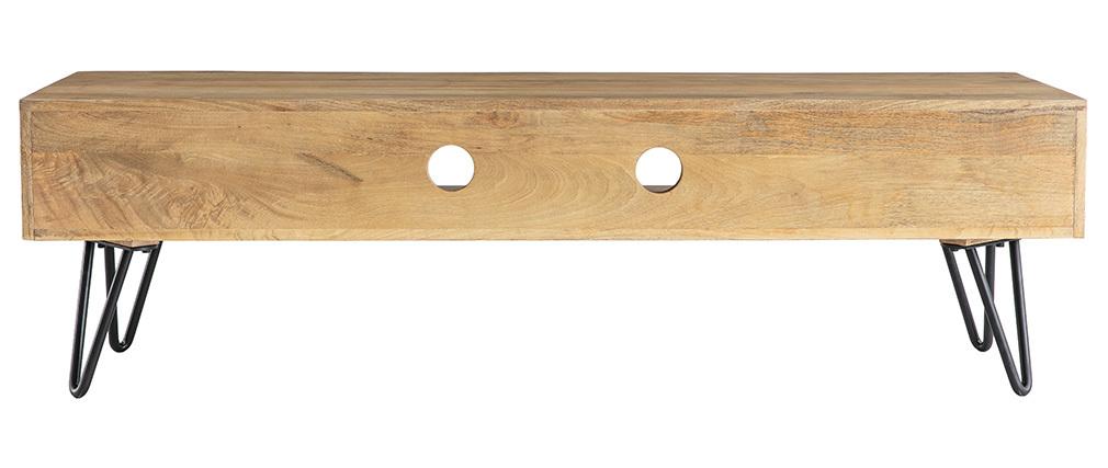 Mueble TV moderno mango patas horquilla metal VIBES