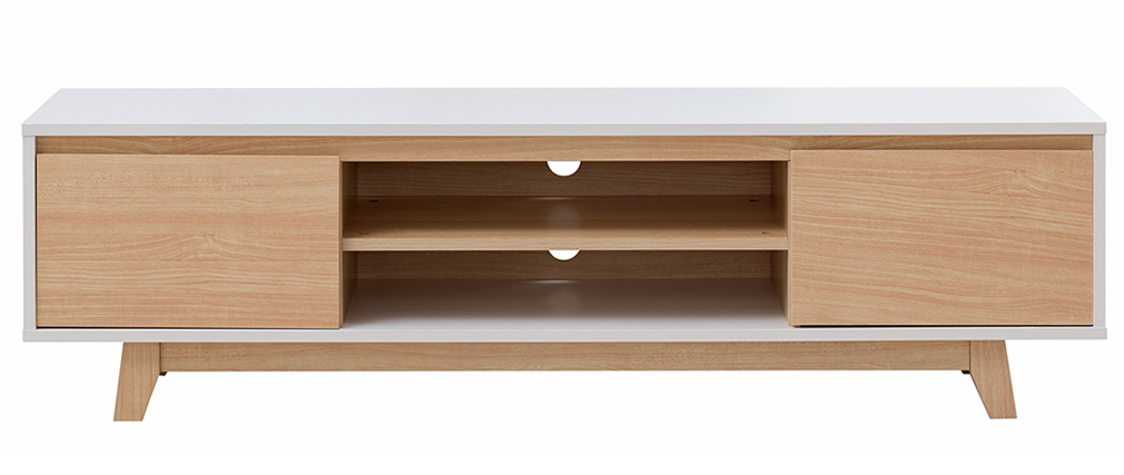 Mueble TV nórdico blanco brillante y madera LAHTI