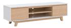 Mueble TV nórdico blanco brillante y madera LAHTI