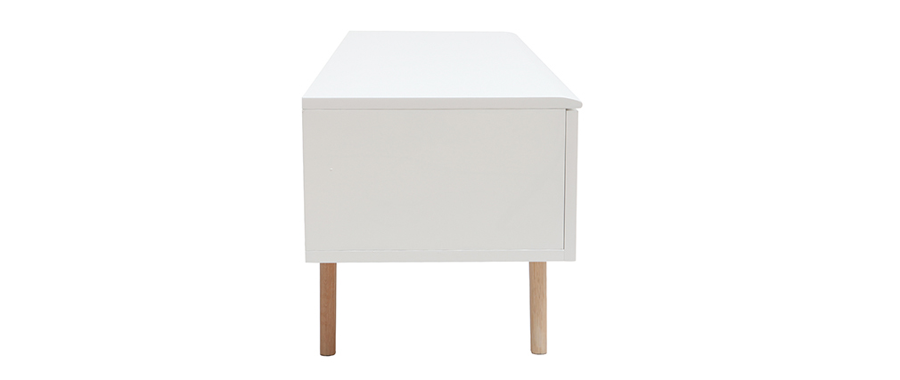 Mueble TV nórdico blanco brillante y madera MELKA