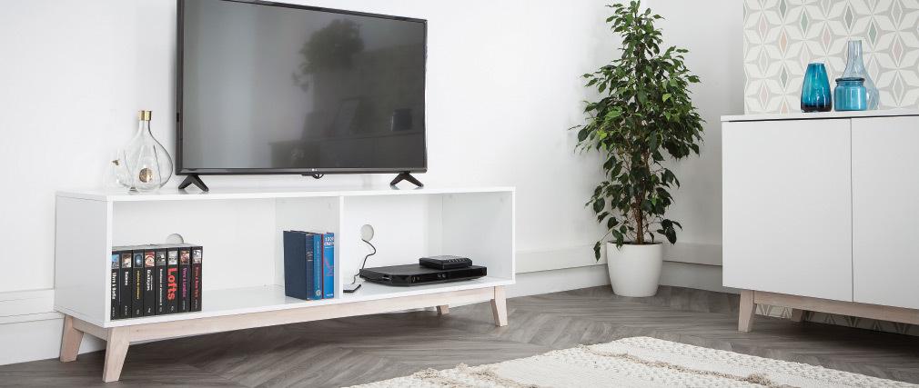 Mueble TV nórdico blanco LEENA
