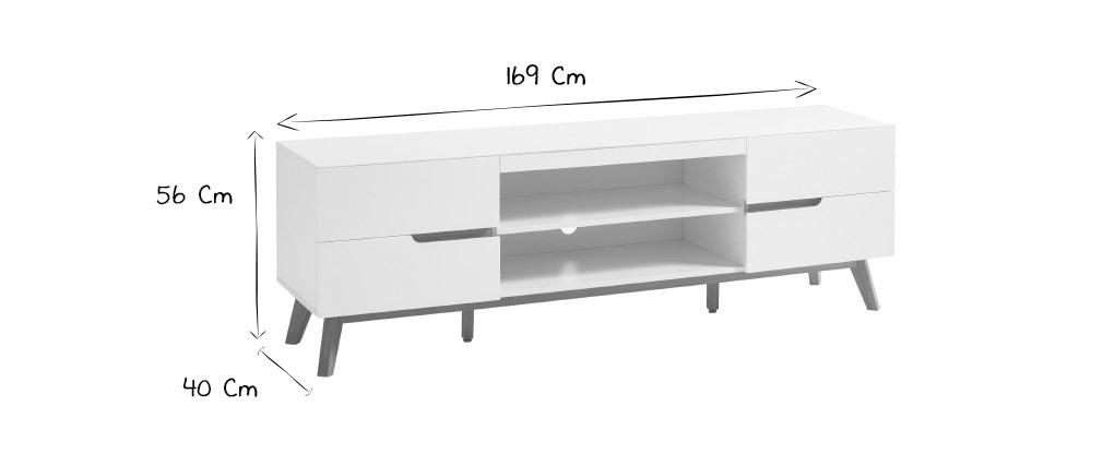 Mueble TV nórdico blanco mate y roble SKIVE