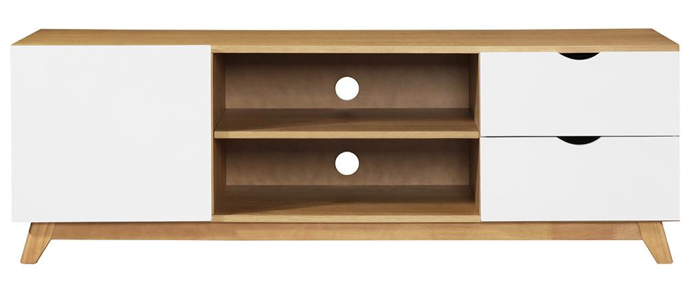 Mueble TV nórdico blanco y madera clara NEELA