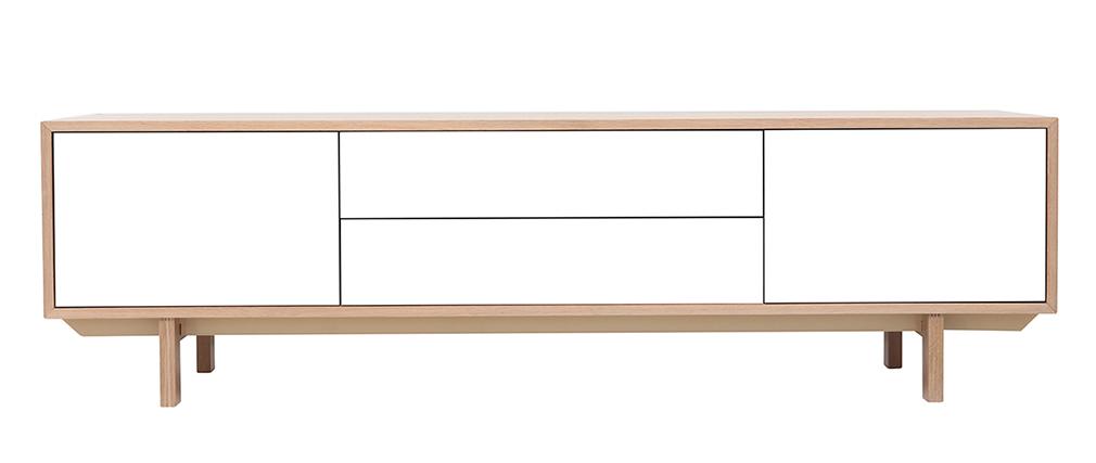 Mueble TV nórdico madera y blanco 180cm SID