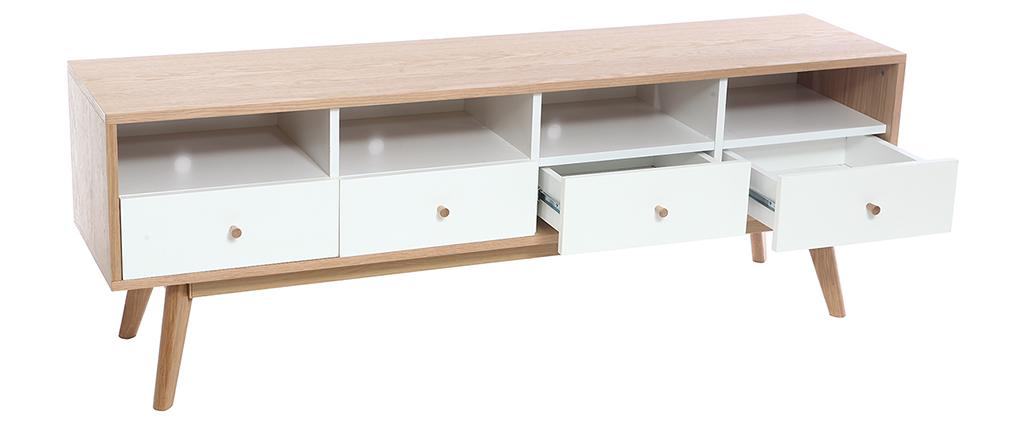 Mueble TV nórdico madera y blanco HELIA