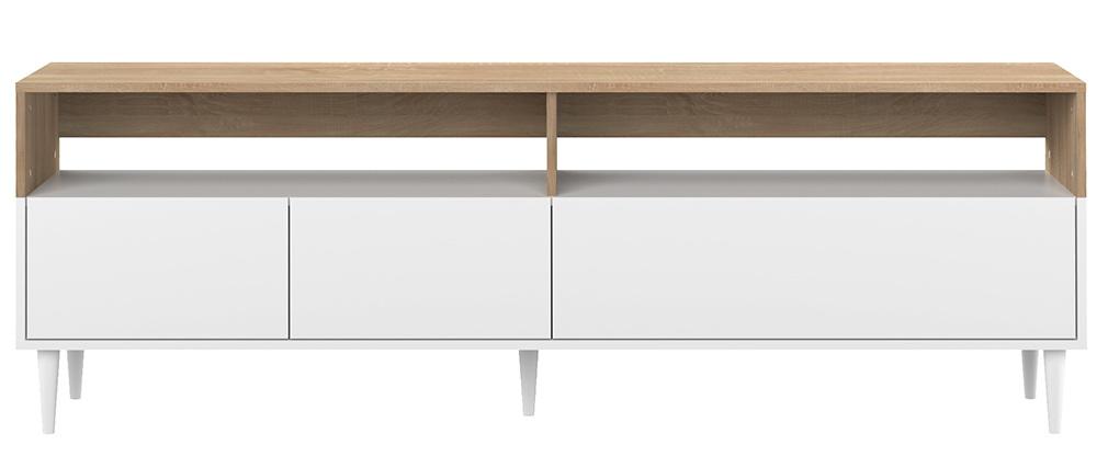 Mueble TV nórdico madera y blanco STRIPE