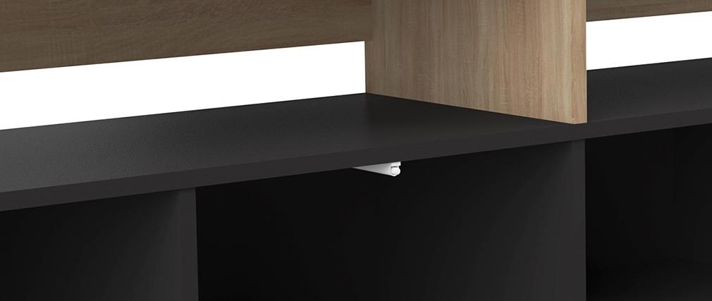 Mueble TV nórdico madera y negro STRIPE