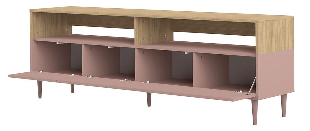Mueble TV nórdico madera y rosa STRIPE