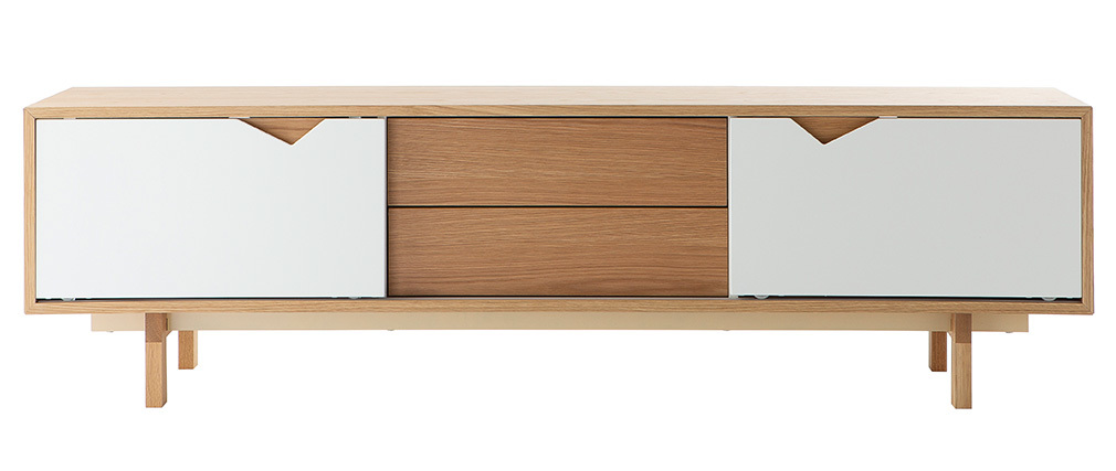 Mueble TV nórdico modular blanco y roble ACOUSTIC