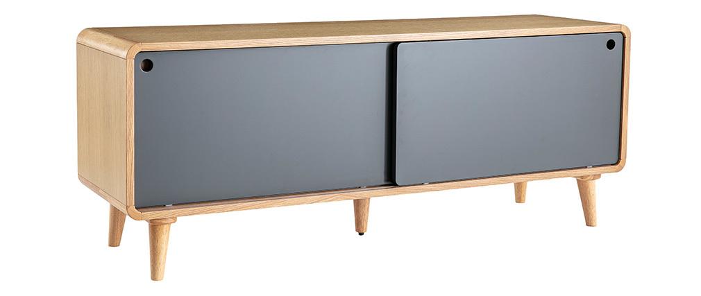 Mueble TV nórdico roble claro y gris COPENHAGUE