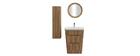 Mueble y columna de baño madera con lavabo, espejo y almacenaje WILD