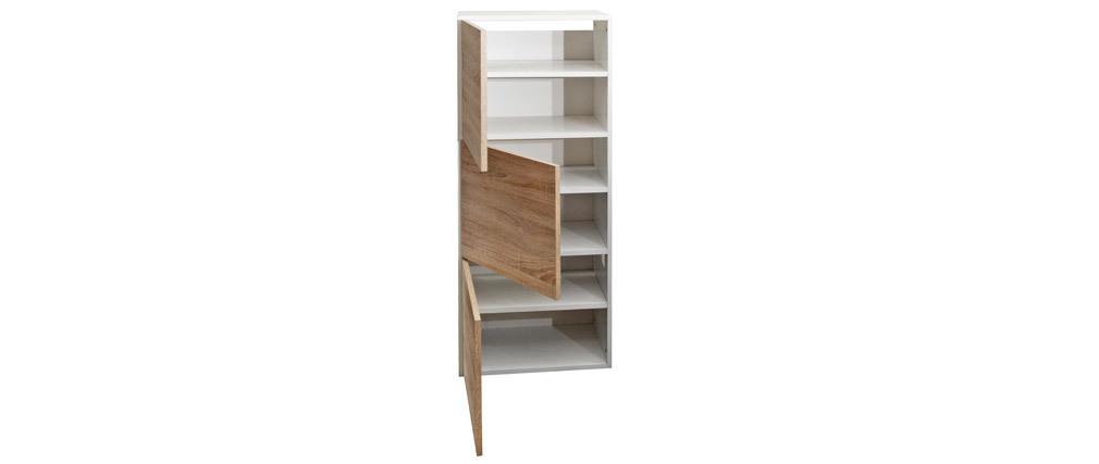 Mueble zapatero blanco y madera 3 puertas BOBBY