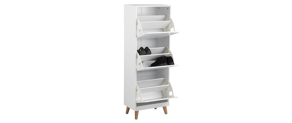 Mueble zapatero nórdico 3 cajones madera y blanco MITRAA