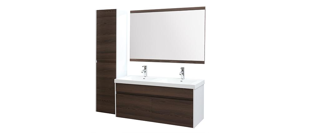 Muebles de baño con doble lavabo, espejo y almacenaje blanco y madera oscura GANFO
