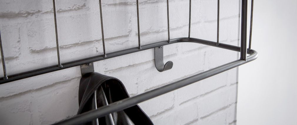 Perchero de pared metal gris y madera 85cm MANUFACTURE