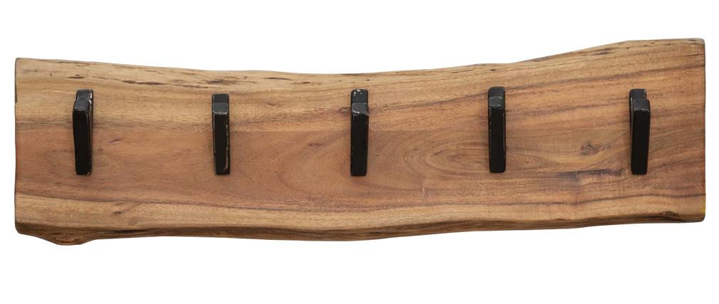 Perchero mural 5 colgadores en madera maciza y metal negro OBEL