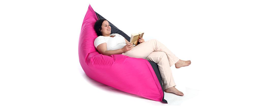 Puf gigante de diseño gris y rosa BIG MILIBAG