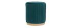 Puff en terciopelo azul petróleo y metal dorado D40 cm DONA