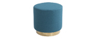Puff redondo en tejido azul petróleo y metal dorado BETTY