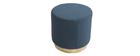 Puff redondo en tejido azul y metal dorado BETTY