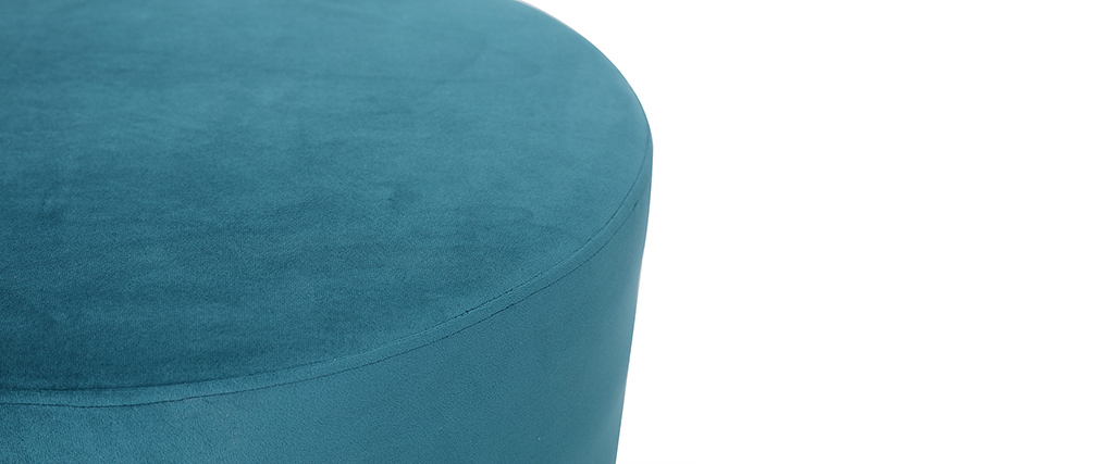 Puff redondo en terciopelo azul petróleo y metal dorado 54 cm AMAYA