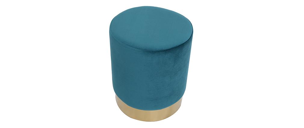 Puff redondo en terciopelo azul petróleo y metal dorado AMAYA
