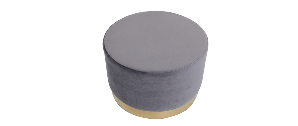 Puff redondo en terciopelo gris y metal dorado 54 cm AMAYA