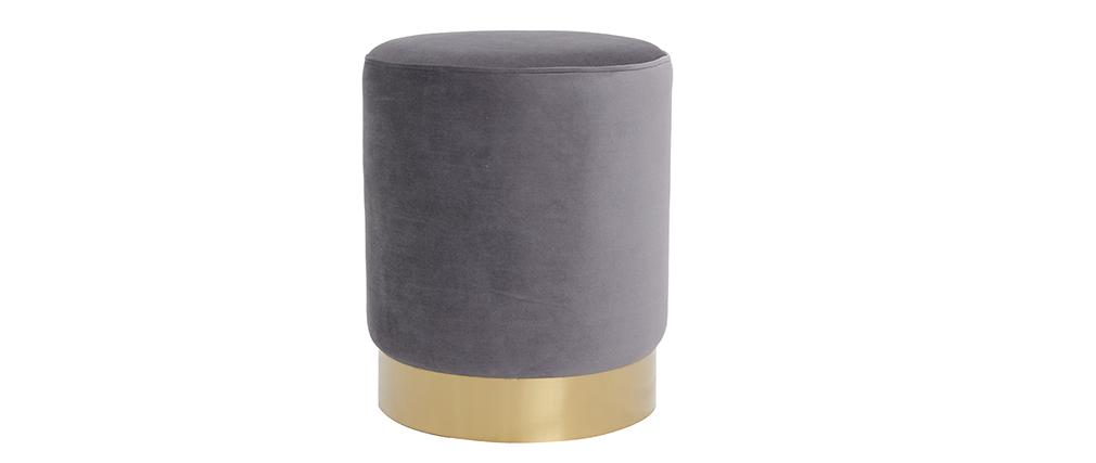 Puff redondo en terciopelo gris y metal dorado AMAYA