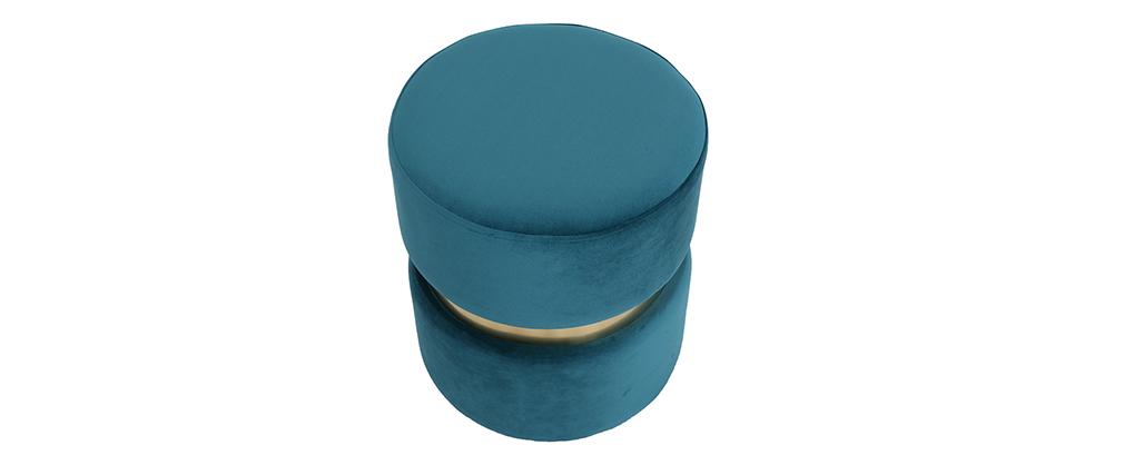 Puuf redondo en terciopelo azul petróleo y metal dorado JOY