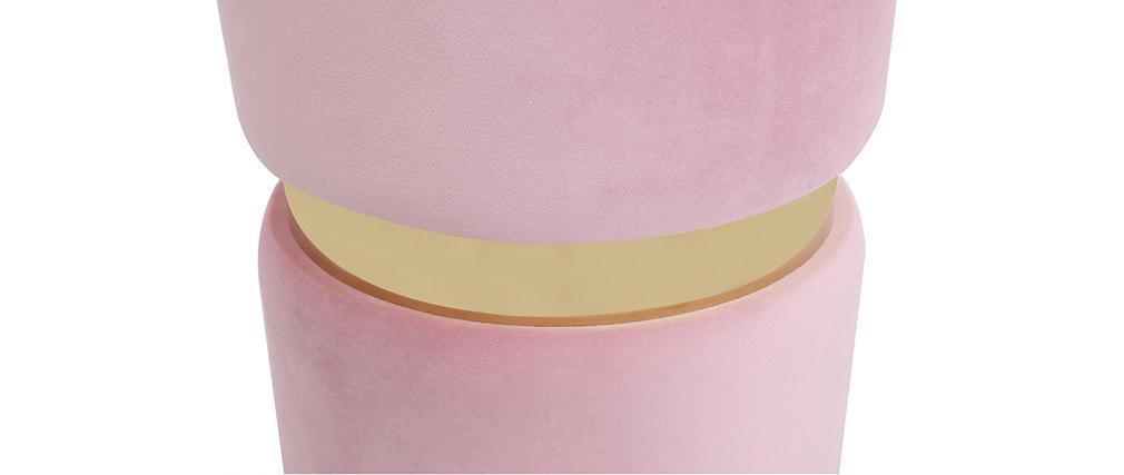 Puuf redondo en terciopelo rosa y metal dorado JOY