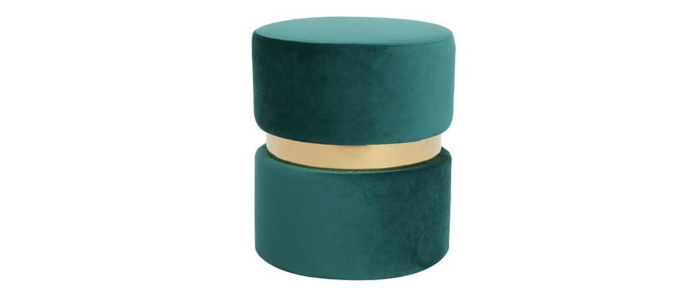 Puuf redondo en terciopelo verde y metal dorado JOY