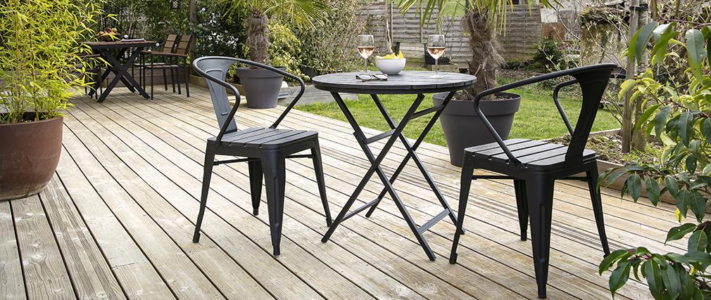 Salón de jardín con mesa plegable y sillas madera y metal negro BERLINER