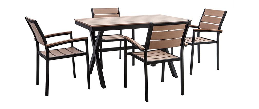 Salón de jardín con mesa y 4 sillas negro y madera VIAGGIO