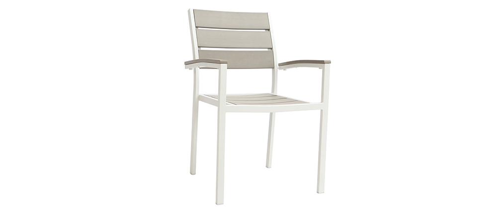 Salón de jardín con mesa y 6 sillas en metal blanco y madera gris VIAGGIO