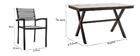 Salón de jardín con mesa y 6 sillas negro y madera VIAGGIO