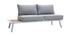 Salón de jardín de esquina en aluminio blanco, teca y tejido gris claro BELLS