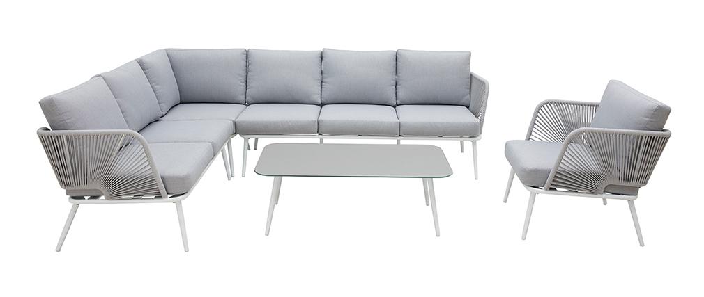 Salón de jardín en aluminio blanco, cuerdas y tejido gris claro HALONG
