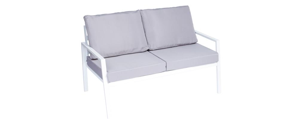 Salón de jardín en metal blanco con mesa, banco y 2 sillones CALA