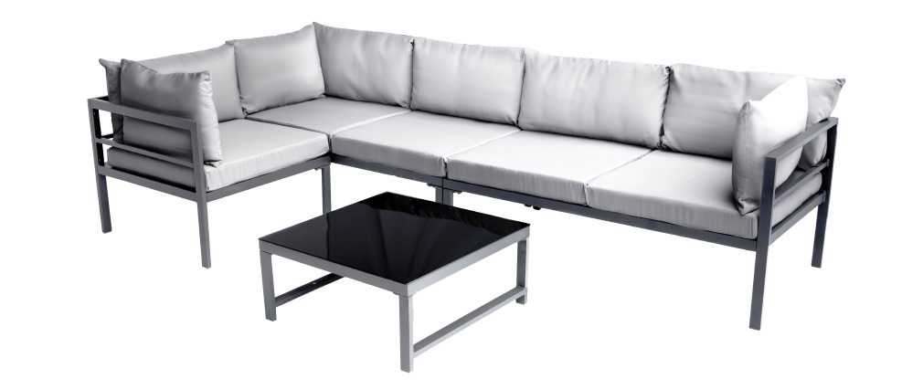Salón de jardín en metal con mesa, sofá de esquina y sillón SALENTO