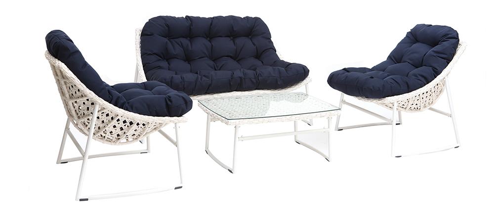 Salón de jardín en resina trenzada azul oscuro y blanco con mesa de centro COMFY