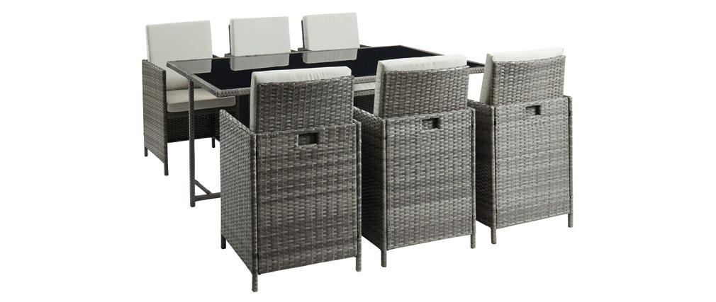 Salón de jardín en resina trenzada con mesa y 6 sillones gris DALIAS
