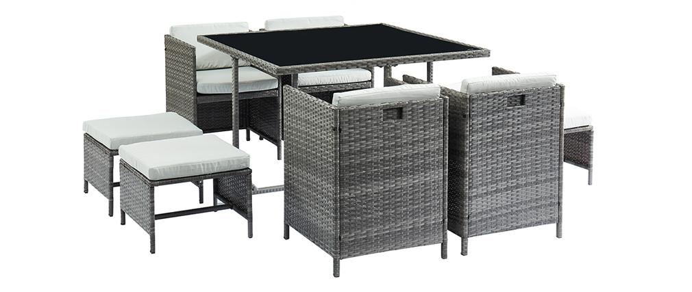 Salón de jardín en resina trenzada gris con mesa, sillones y puffs CORDOBA
