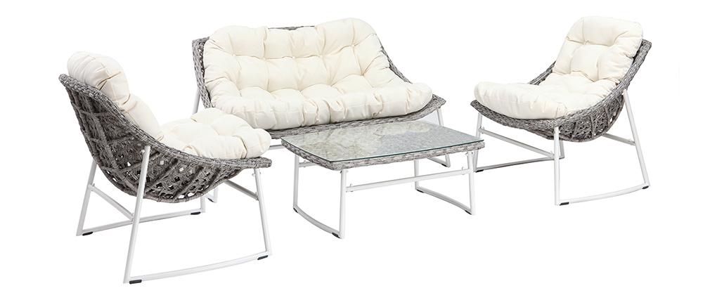 Salón de jardín en resina trenzada gris y blanco con mesa de centro COMFY