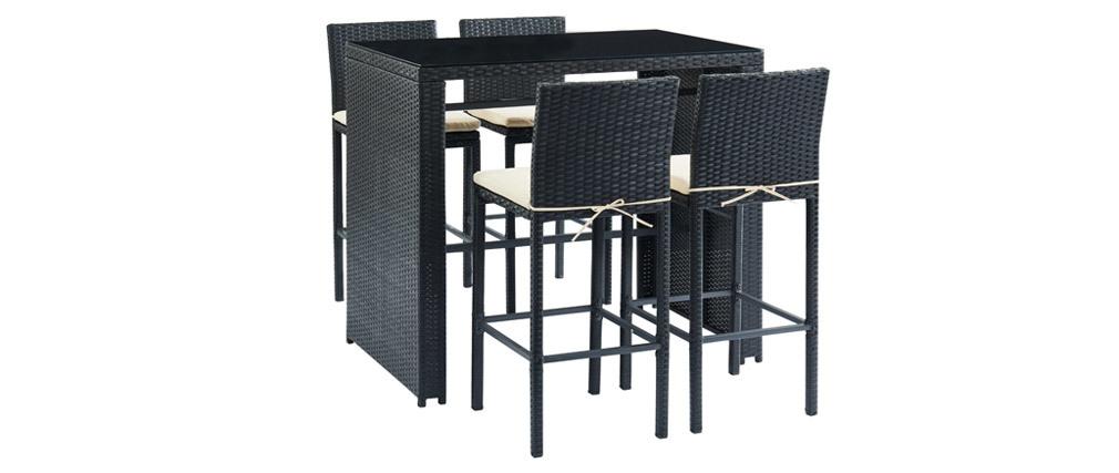 Salón de jardín en resina trenzada negra con mesa de bar y 4 taburetes JAVEA