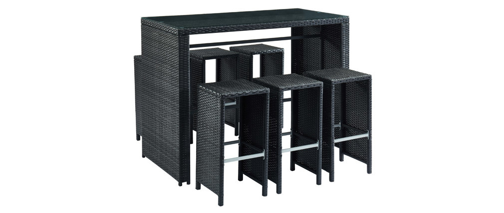 Salón de jardín en resina trenzada negra con mesa y 6 taburetes CANCUN