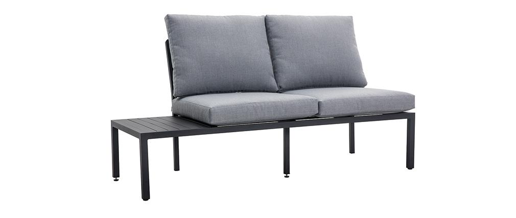 Salón de jardín esquinero en metal negro y tejido gris SAIGON