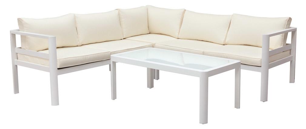 Salón de jardín moderno blanco con mesa de centro TONIGHT