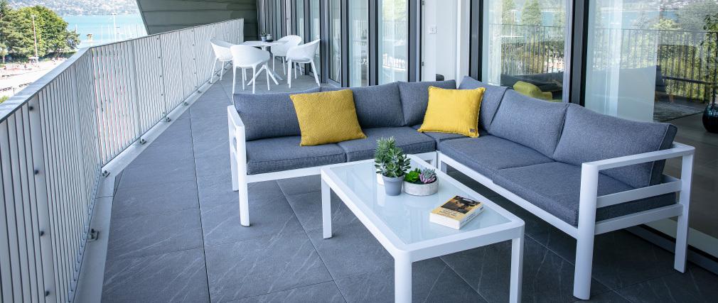 Salón de jardín moderno gris oscuro con mesa de centro TONIGHT